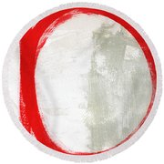 Red Circle 3- Abstract Painting Round Beach Towel