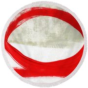 Red Circle 4- Abstract Painting Round Beach Towel