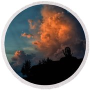 Red Clouds Round Beach Towel