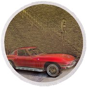 Red Corvette Round Beach Towel