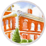 Red Courthouse With Evergreen Round Beach Towel