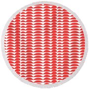 Red Cut Outs- Abstract Pattern Art Round Beach Towel