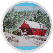 Red Covered Bridge Christmas Round Beach Towel by Kathy Marrs Chandler