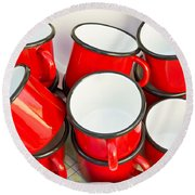Red Cups Round Beach Towel