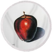 Red Delicious Apple Round Beach Towel by Marna Edwards Flavell