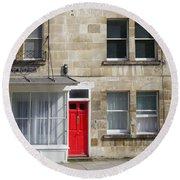 Red Door In Bath Round Beach Towel