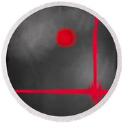 Red Dot Round Beach Towel by Anita Lewis