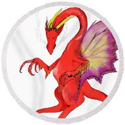 Red Dragon Round Beach Towel