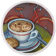Red Dutch Bicycle With Cappuccino And Amaretti Round Beach Towel by Mark Jones