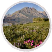 Round Beach Towel featuring the photograph Red Eagle Mountain by Jack Bell