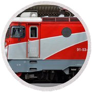 Round Beach Towel featuring the photograph Red Electric Train Locomotive Bucharest Romania by Imran Ahmed