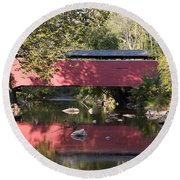Red Fairhill Covered Bridge Two Round Beach Towel