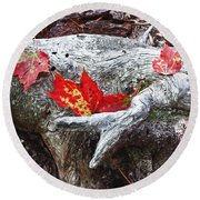 Red Fall Against Grey Round Beach Towel