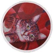 Red Feline Geometry Round Beach Towel by Pamela Clements