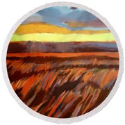 Round Beach Towel featuring the painting Red Field by Helena Wierzbicki