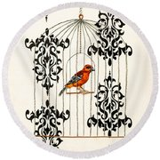 Red Finch Round Beach Towel by Stefanie Forck