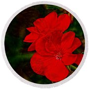 Red Flowers Round Beach Towel