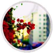 Red Flowers Downtown Round Beach Towel by Matt Harang