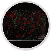 Red Flowers In Twilight  Round Beach Towel