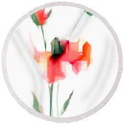 Red Flowers Round Beach Towel by Rafael Salazar