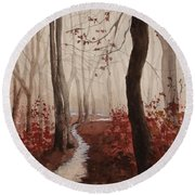 Red Forest Round Beach Towel