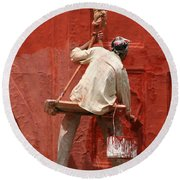 Red Fort Painter Round Beach Towel