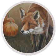 Red Fox With Pumpkins Round Beach Towel