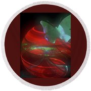 Red Fractal Bowl With Butterfly Round Beach Towel