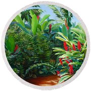 Tropical Jungle Landscape - Red Garden Hawaiian Torch Ginger Wall Art Round Beach Towel