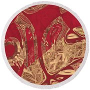 Red Geranium Abstract Round Beach Towel