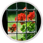 Red Geranium Through Leaded Window Round Beach Towel