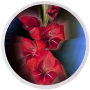 Round Beach Towel featuring the photograph Red Gladiola by Mark Greenberg