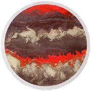 Red Gold And Brown Abstract Round Beach Towel