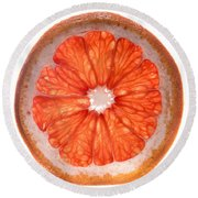 Red Grapefruit Round Beach Towel by Steve Gadomski