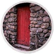 Red Grist Mill Door Round Beach Towel