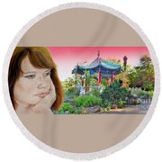Red Hair And Freckled IIi Altered Version  Round Beach Towel