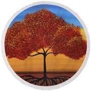 Red Happy Tree Round Beach Towel