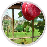 Red Hat By Jan Marvin Round Beach Towel