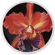 Red Hawaiian Orchid Round Beach Towel