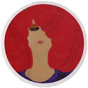 Round Beach Towel featuring the painting Red Head by Anita Lewis