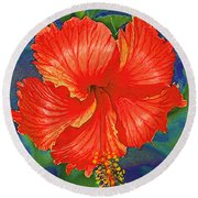 Red Hibiscus Flower Round Beach Towel