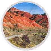 Red Hills Of The Gros Ventre Round Beach Towel