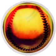 Red Hot Baseball Round Beach Towel by Yo Pedro