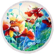 Round Beach Towel featuring the painting Red Hot Cool Blue by Kathy Braud