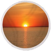Red-hot Sunset Round Beach Towel by John Telfer