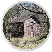 Round Beach Towel featuring the photograph Red House by Nick Kirby