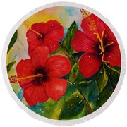Red Hybiscus  Round Beach Towel