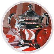 Red In Silver Round Beach Towel by Lynne Reichhart