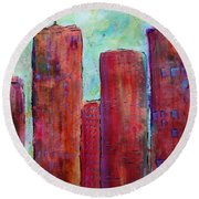 Red In The City Round Beach Towel