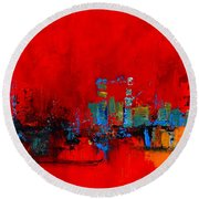 Round Beach Towel featuring the painting Red Inspiration by Elise Palmigiani